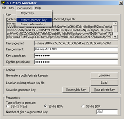 Export private key in OpenSSH format